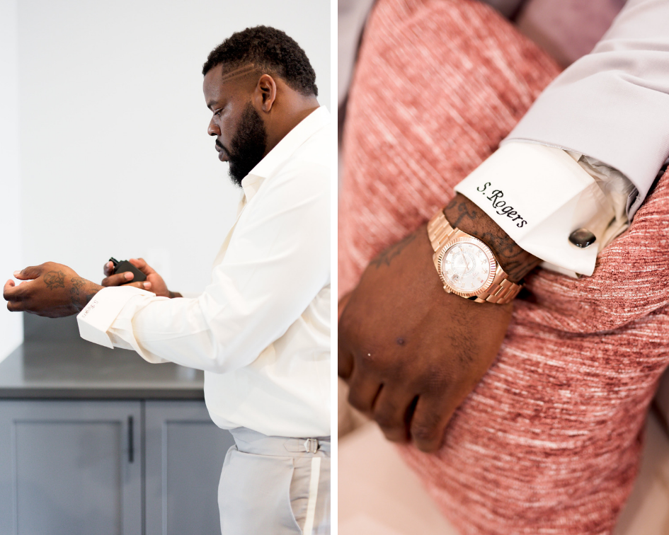 Houston Wedding- Pharris Photography- Kisha + Shaun- Cufflinks- Groom- Getting Ready
