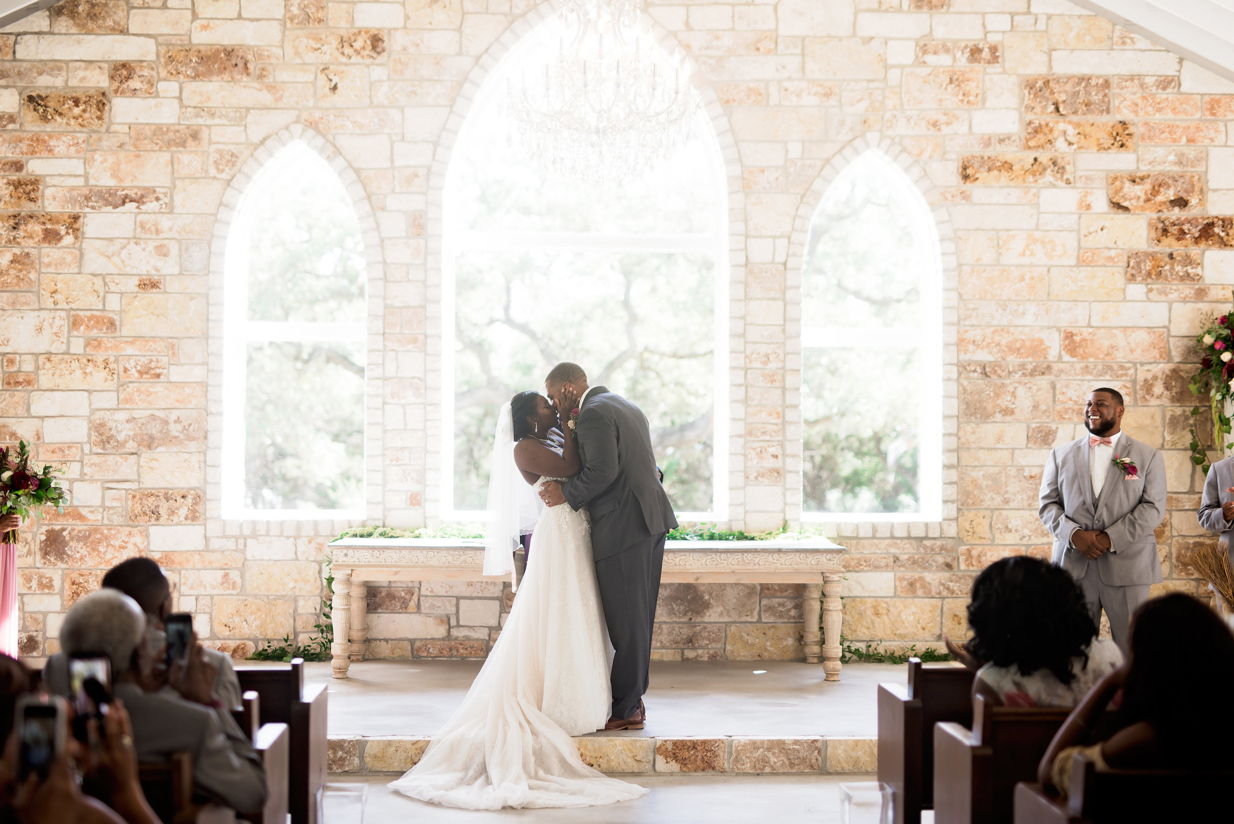 New Braunfels Wedding- Pharris Photography- Ceremony- Adrianna + Kevin- First Kiss