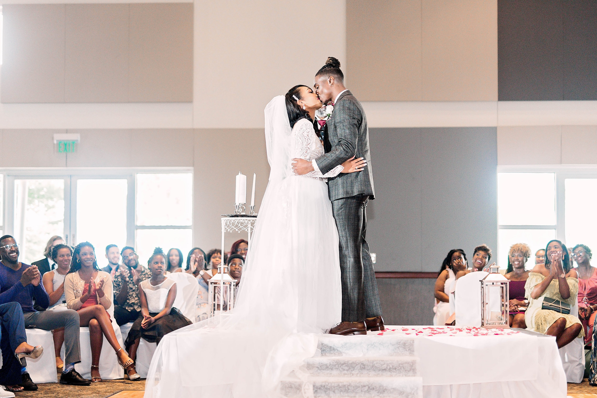 Dallas Wedding- Pharris Photography- Ceremony- Kaimyn + Ezra- First Kiss