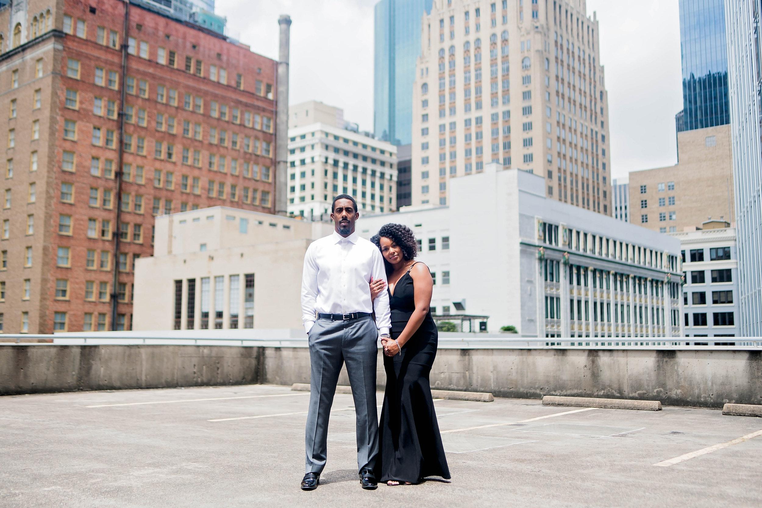 Houston Engagement- Pharris Photography- Engagement Session- Houston Rooftop- Carnisha + Ben