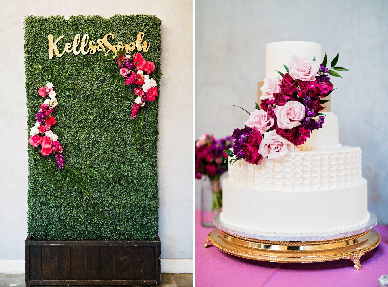 Dallas Wedding- Pharris Photography- Reception- Sophie + Kellen- Wedding Cake- Photo Backdrop