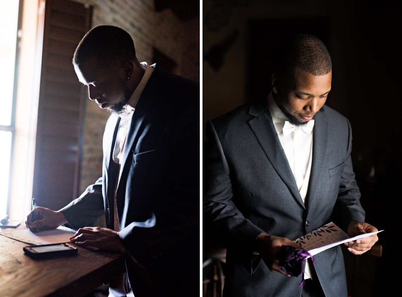 New Braunfels Wedding- Pharris Photography- Getting Ready- Adrianna + Kevin- Groom- Reading & Writing Vows