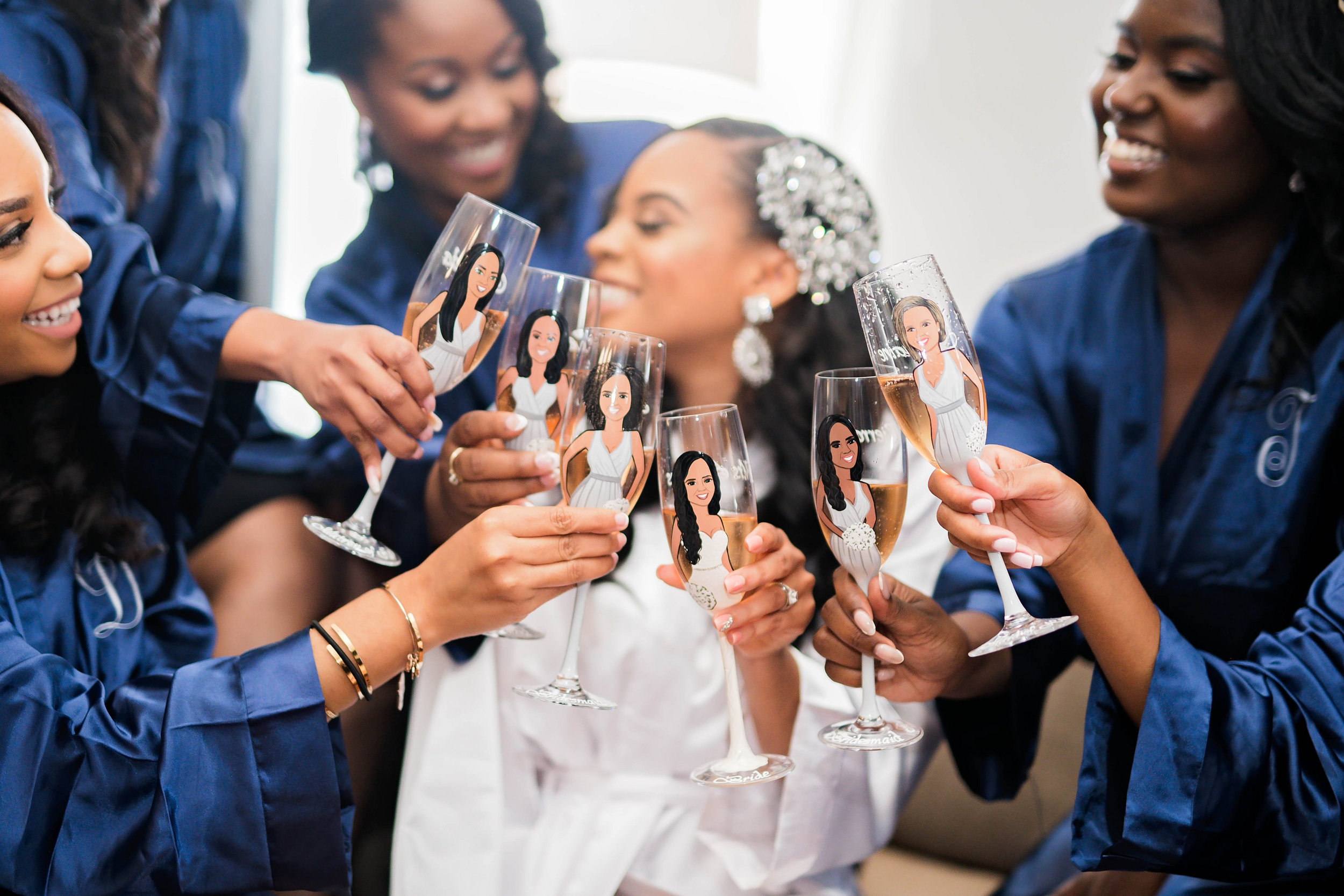 Tulsa Wedding- Pharris Photography- Getting Ready- Darla + Quinton- Bridesmaids- Champagne