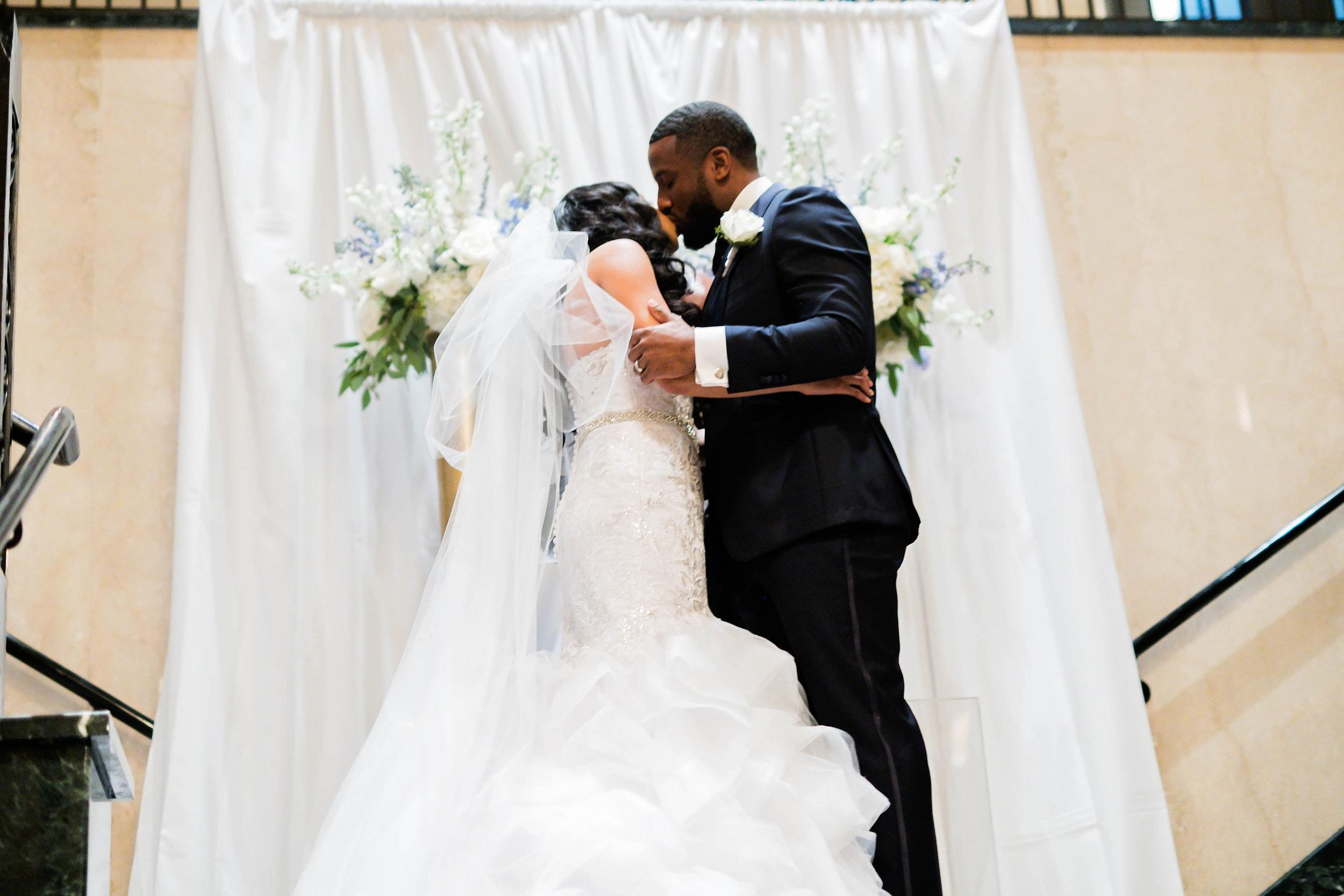 Tulsa Wedding- Pharris Photography- Ceremony- Darla + Quinton- First Kiss