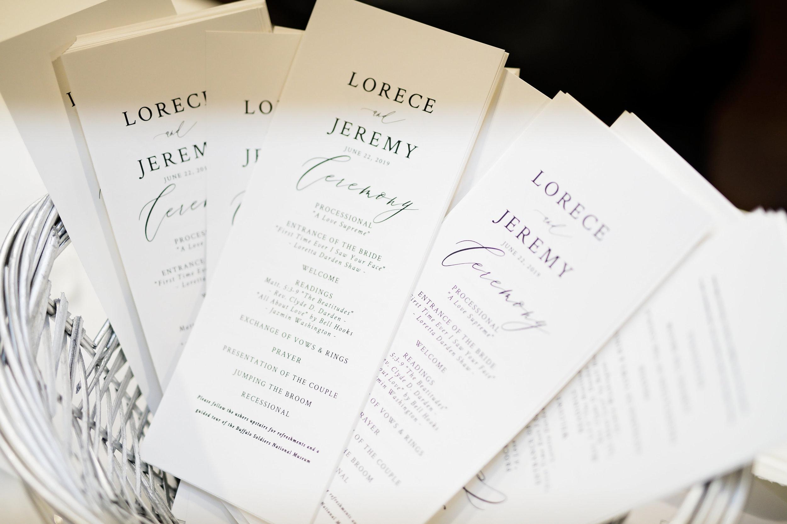 Houston Wedding- Pharris Photography- Ceremony- Lorece + Jeremy- Wedding Bulletin