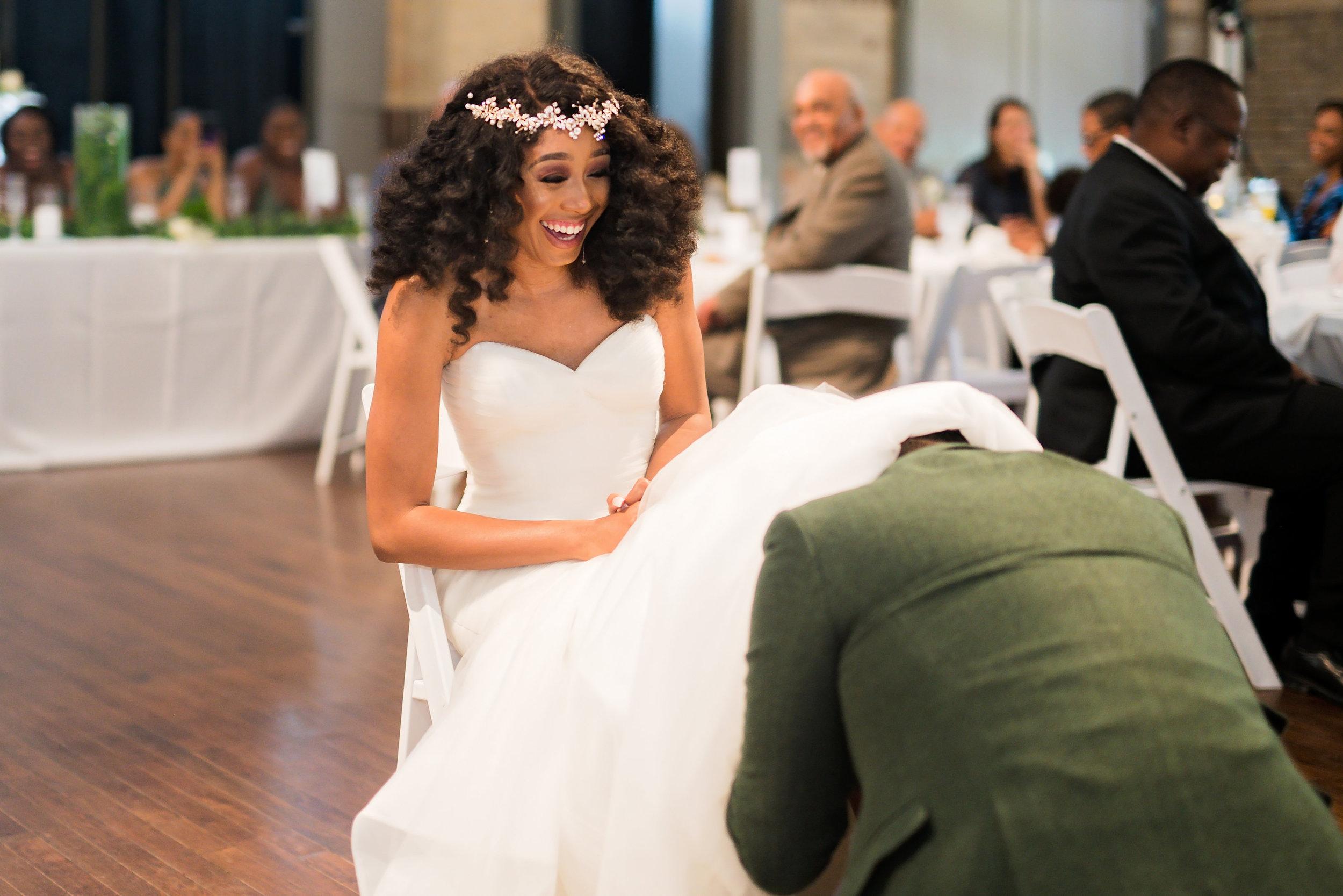 Houston Wedding- Pharris Photography- Reception- Lorece + Jeremy- Garter Toss