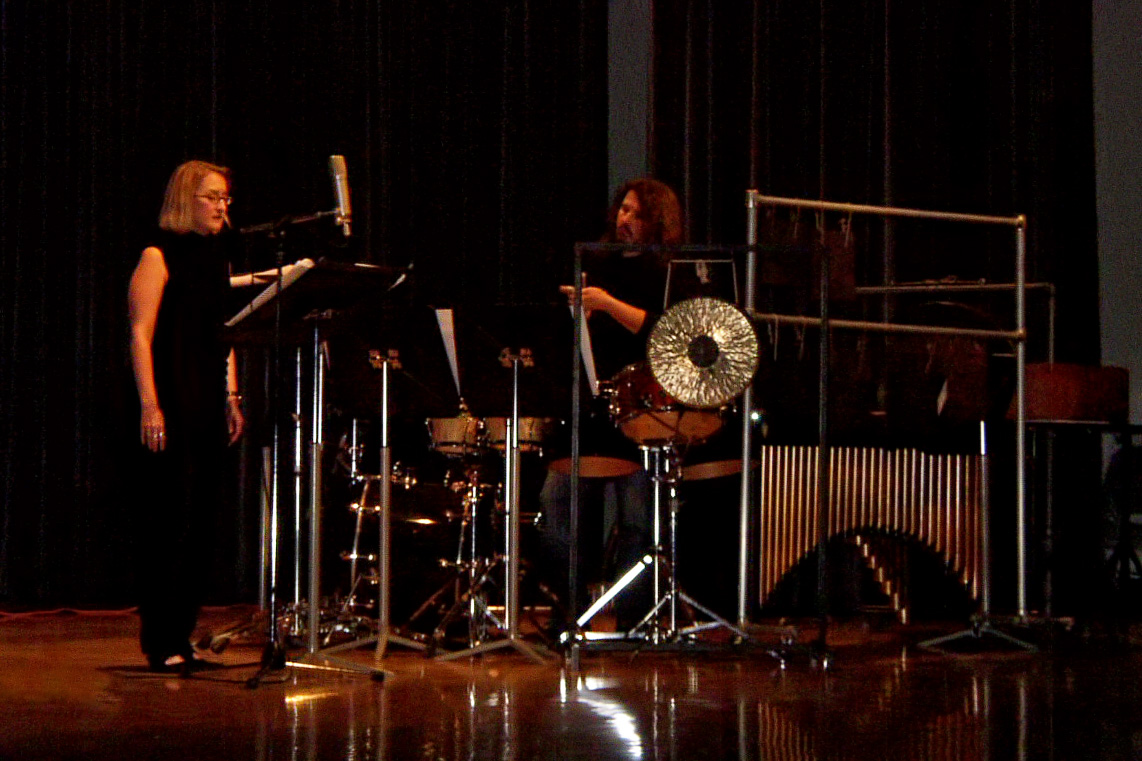 Performing with percussionist Dan Dlouhý