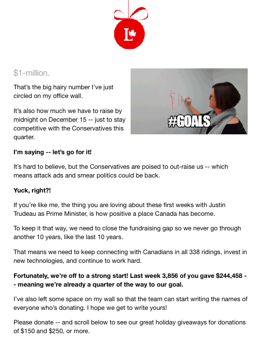 A December 7 email from Christina Topp, the Acting National Director of the Liberal Party of Canada.