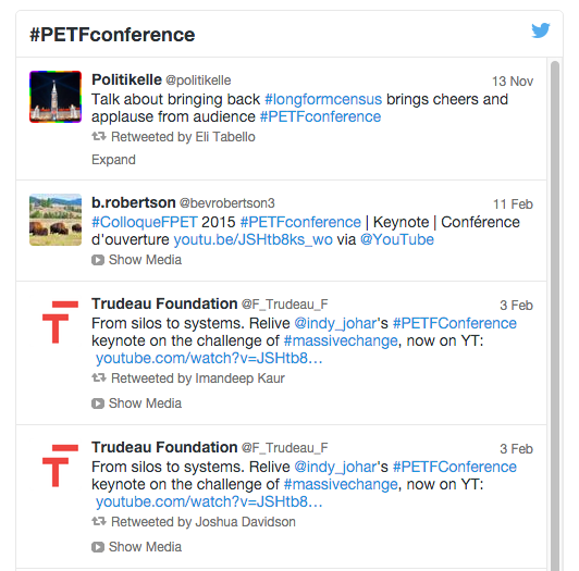 An example from a conference the  Fondation Trudeau Foundation held last year.