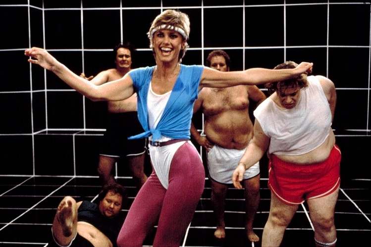 """Olivia Newton John getting """"Physical"""" in her 1982 music video."""