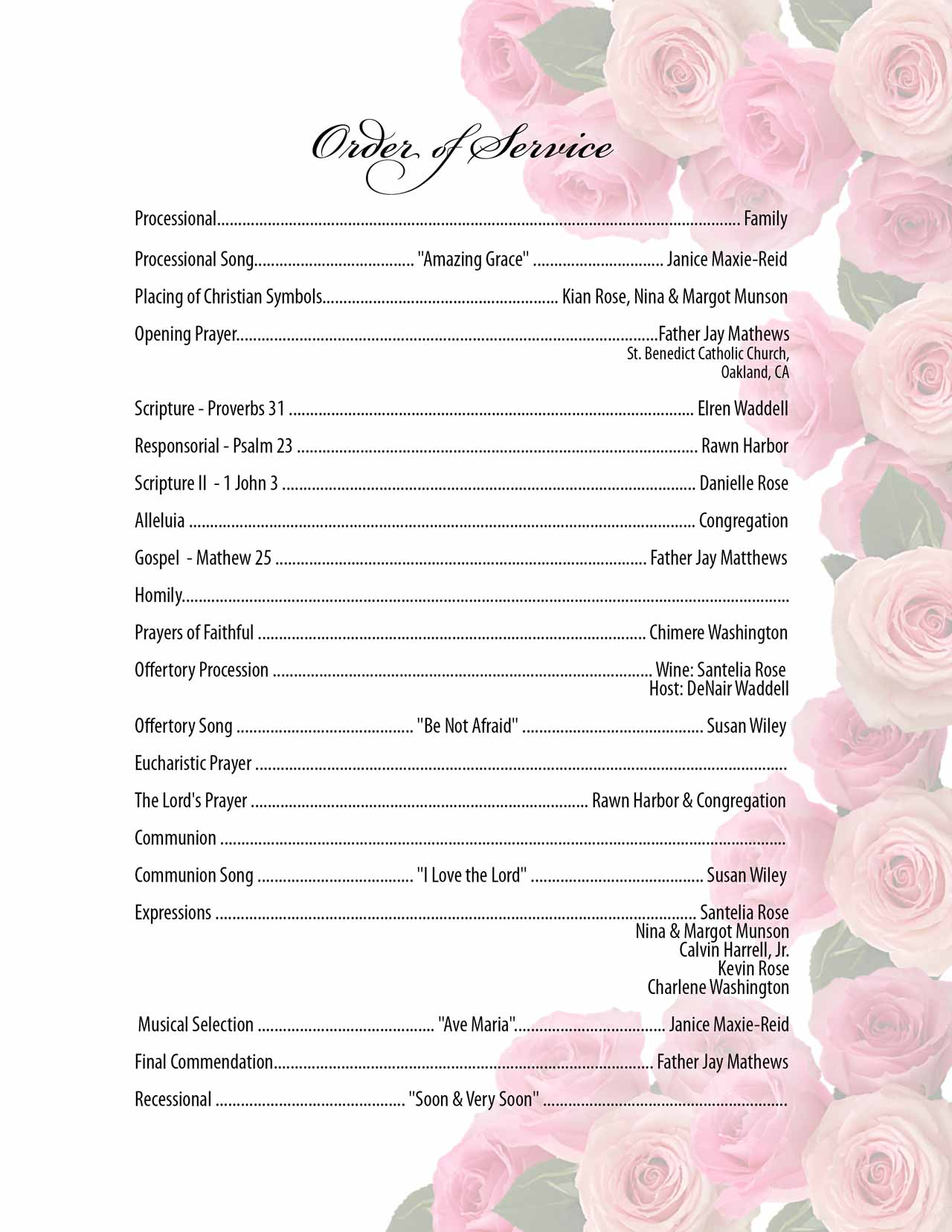 ORDER OF SERVICE -