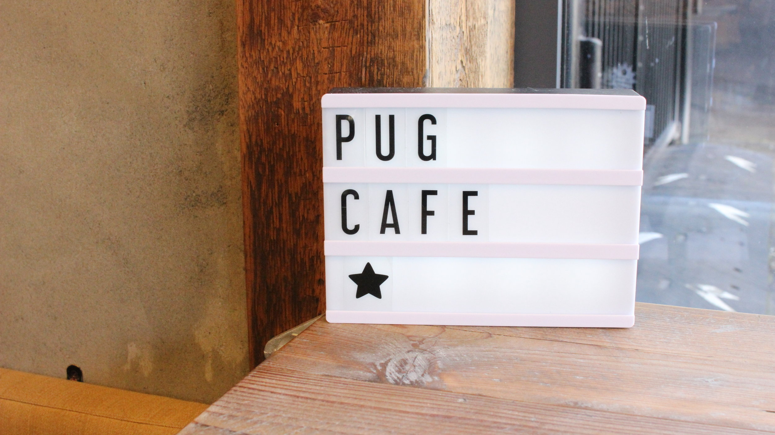 Decorations at Esquires Coffee Shop ahead of the opening of the Pop Up Pug Cafe Guildford.