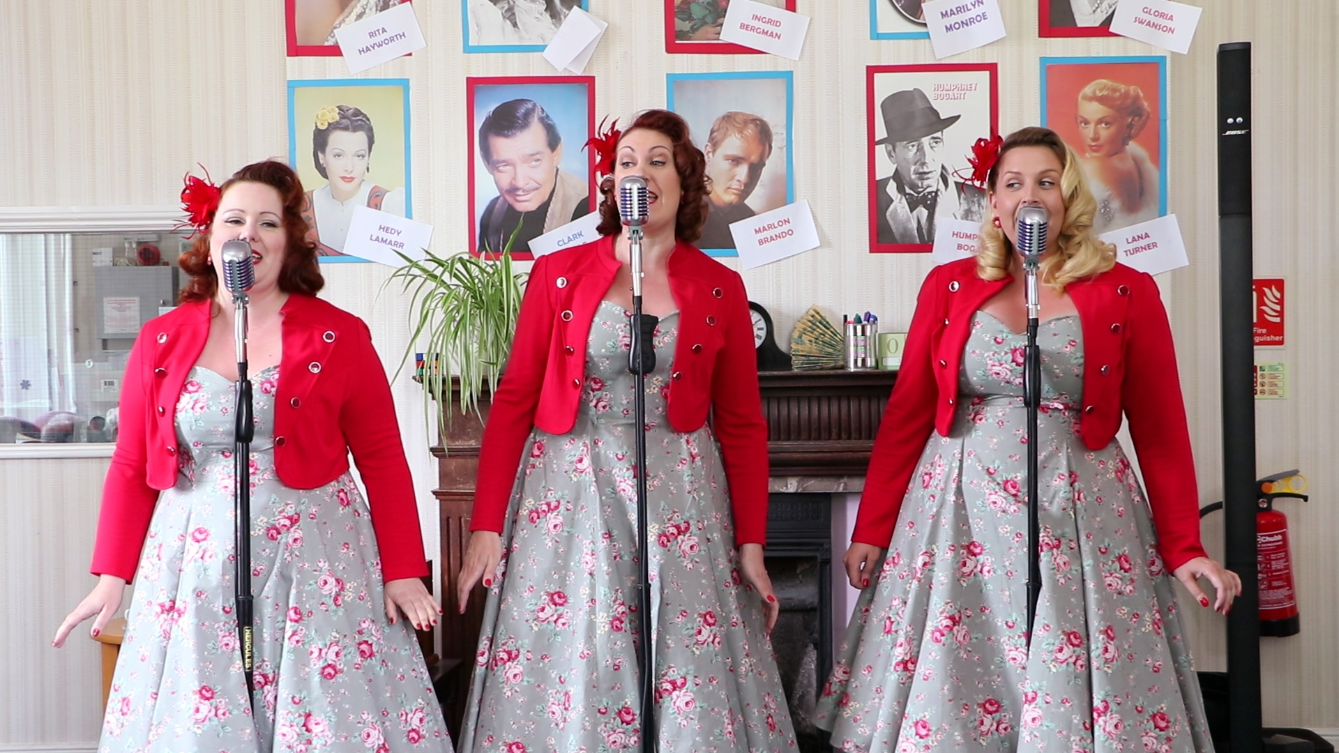 """Vintage Singing Trio """"Champagne At The Blitz"""" bring a set of wartime songs to the visitors of the Orchard Dementia Centre in Chertsey."""
