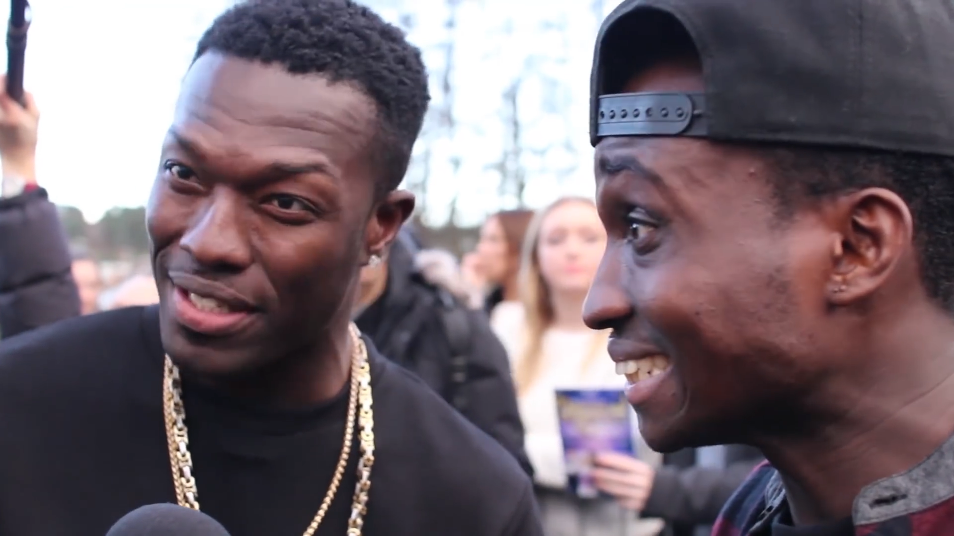 Reggie and Bollie, XFactor hopefuls are interviewed by Eagle Radio in Farnborough