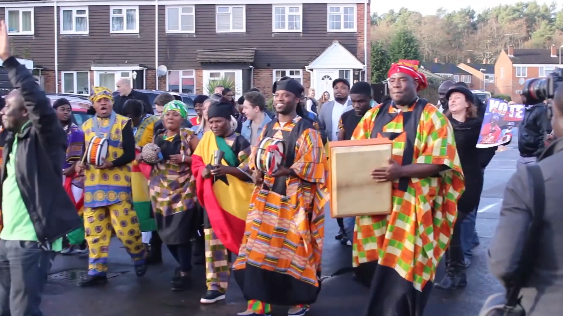 African dancers and musicians walk around Farnborough ahead of the XFactor gig.