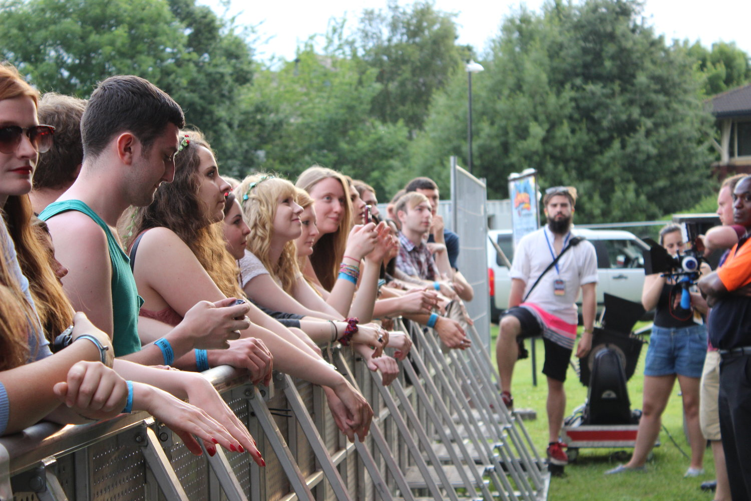 Front row of the main stage at Warwick University's Free Festival For Undergraduates, The Warwick Summer Party in 2014.