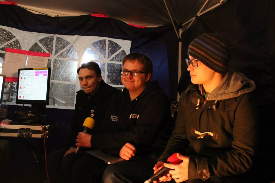 RaW 1251AM Presenters in a tent on the Warwick University Piazza on a night shift at the charity radio marathon, the MaRaWthon.