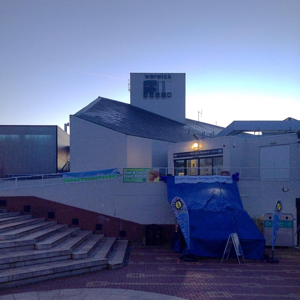 Dawn on the RaW 1251AM tent on the Warwick University Piazza