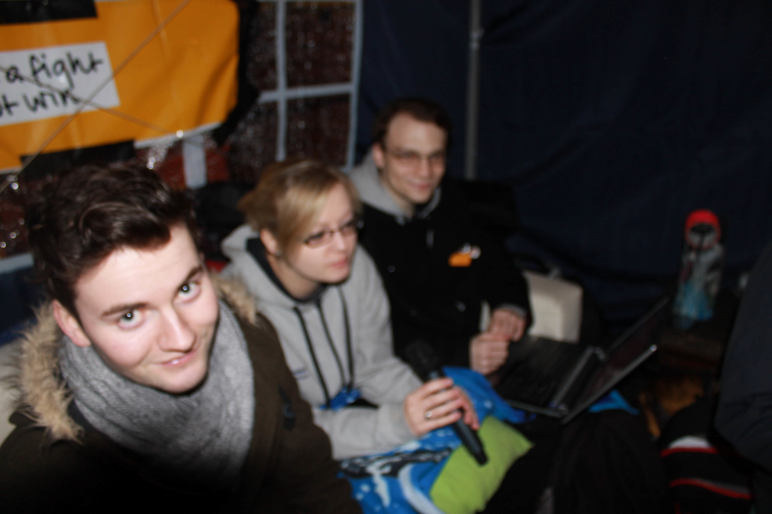 RaW 1251AM Presenters inside a tent on the Warwick University Piazza as part of the MaRaWthon in 2014.