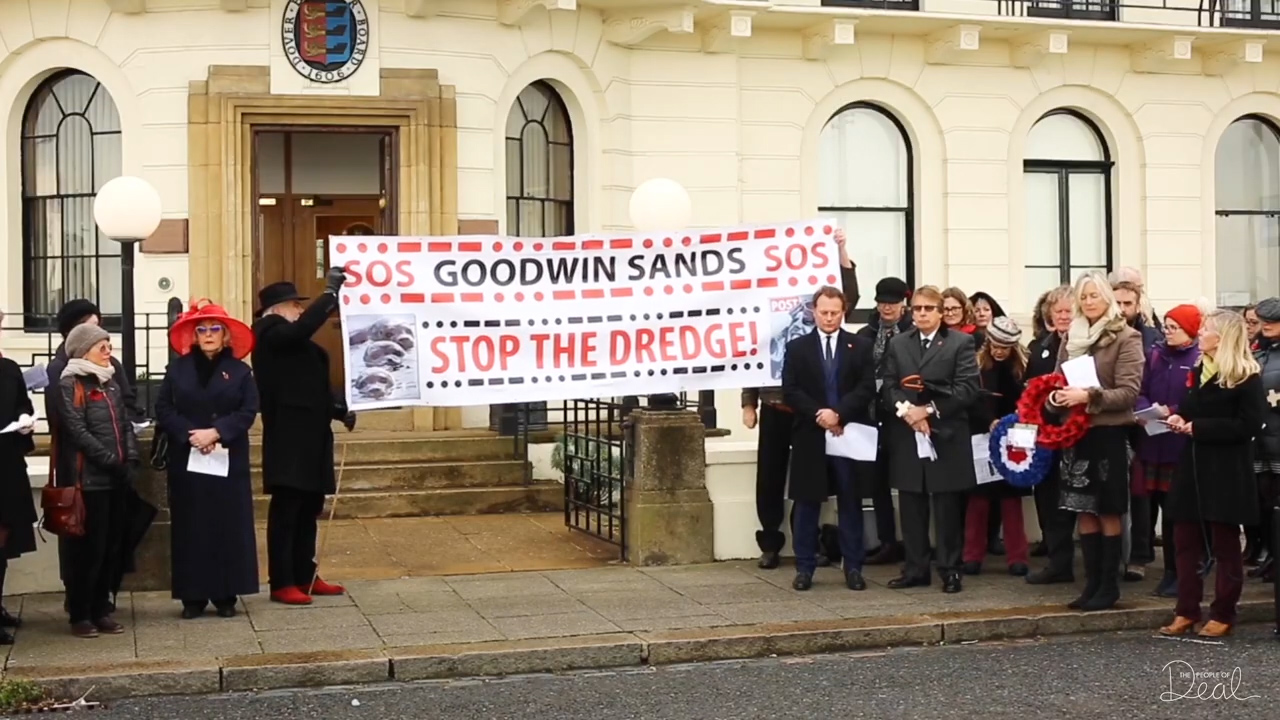 Fiona Punter and Joanna Thomson of the Goodwin Sands SOS Campaign Hold Stop The Dredge Banner Outside Dover Harbour Board