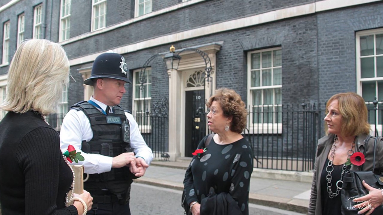 Fiona Punter and Joanna Thomson of Goodwin Sands SOS Deliver a 20,000 signed petition to Downing Street