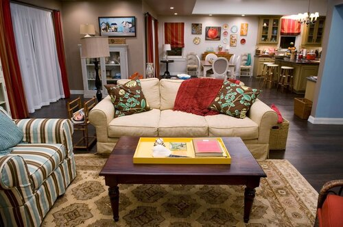 In which sitcom did this open plan living room and kitchen feature?