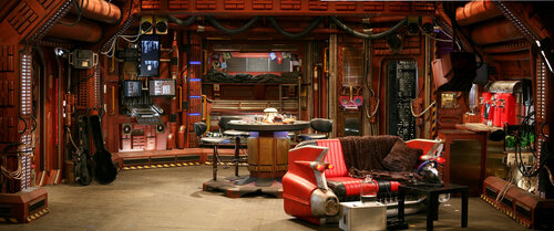 Which sitcom is known for this futuristic set?