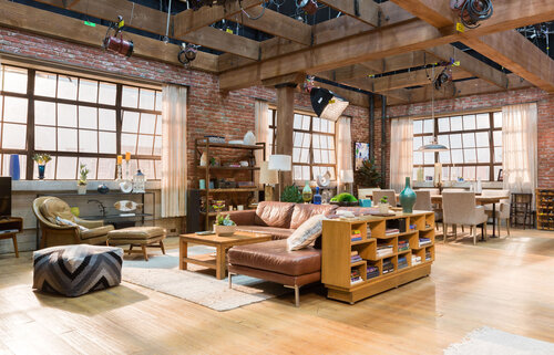 Which sitcom featured this modern apartment set?