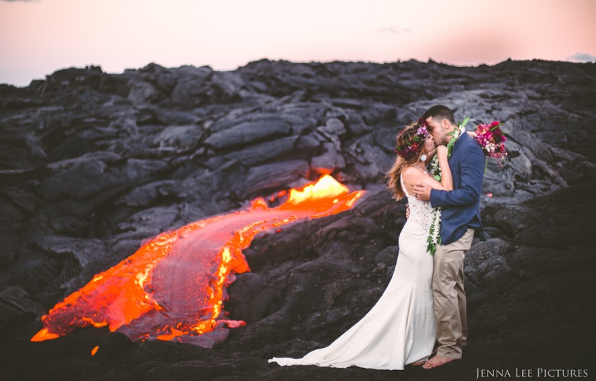 Lauren and Alex Michaels stand near a river of lava on Kilauea on August 11. Being barefoot allowed them to gauge the temperature of their surroundings. The area was so hot that they could only stand there for a few minutes.