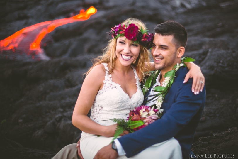 Alex Michaels holds his wife Lauren while sitting on Kilauea on August 11. The couple was married in June.