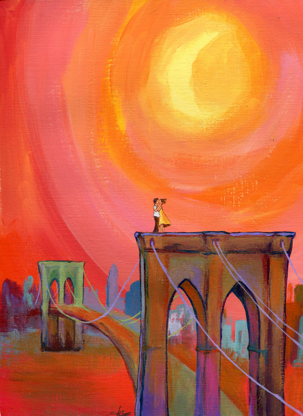 Lovers on the Bridge (pink)