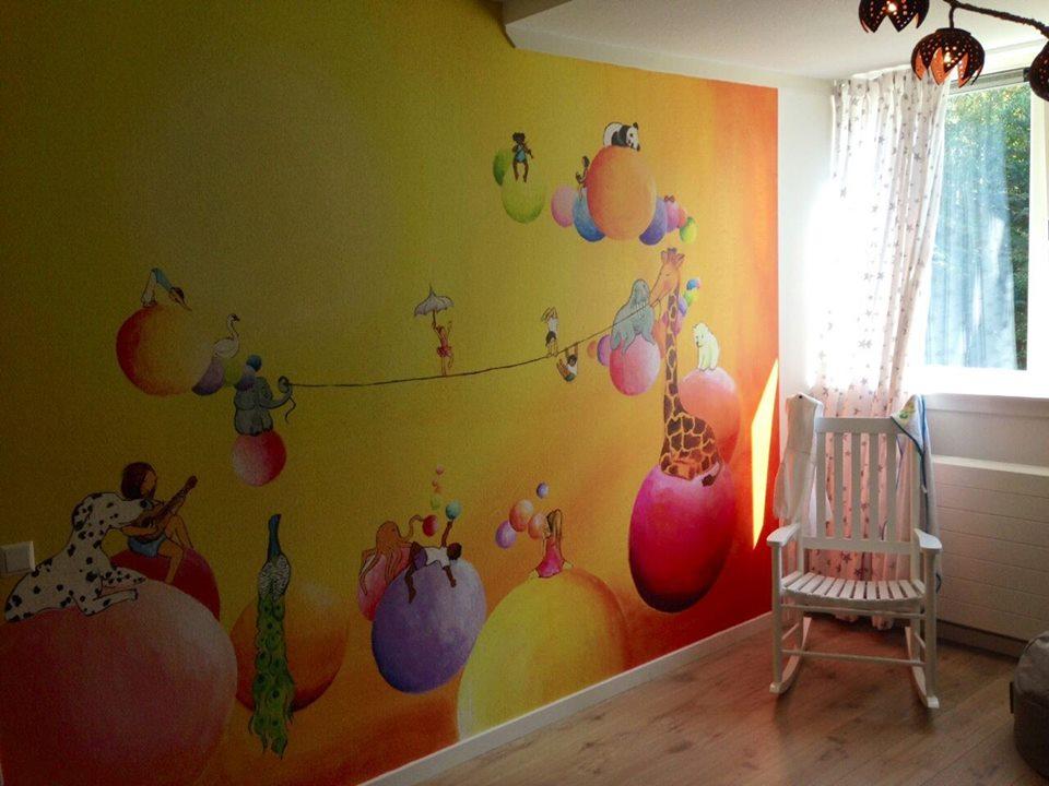 Wall paper art in nursery, Holland