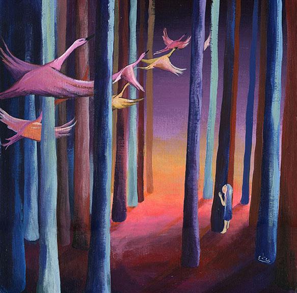 "Flight. 2015 acrylic on canvas paper 12x12"""