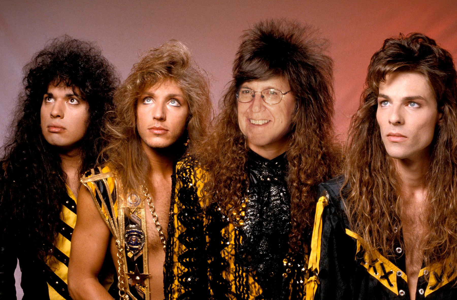 This one was actually made for a work retirement slideshow I made. Phil (second from the right) has always joked about how much hair he used to have, I told him I found an old photo of him.