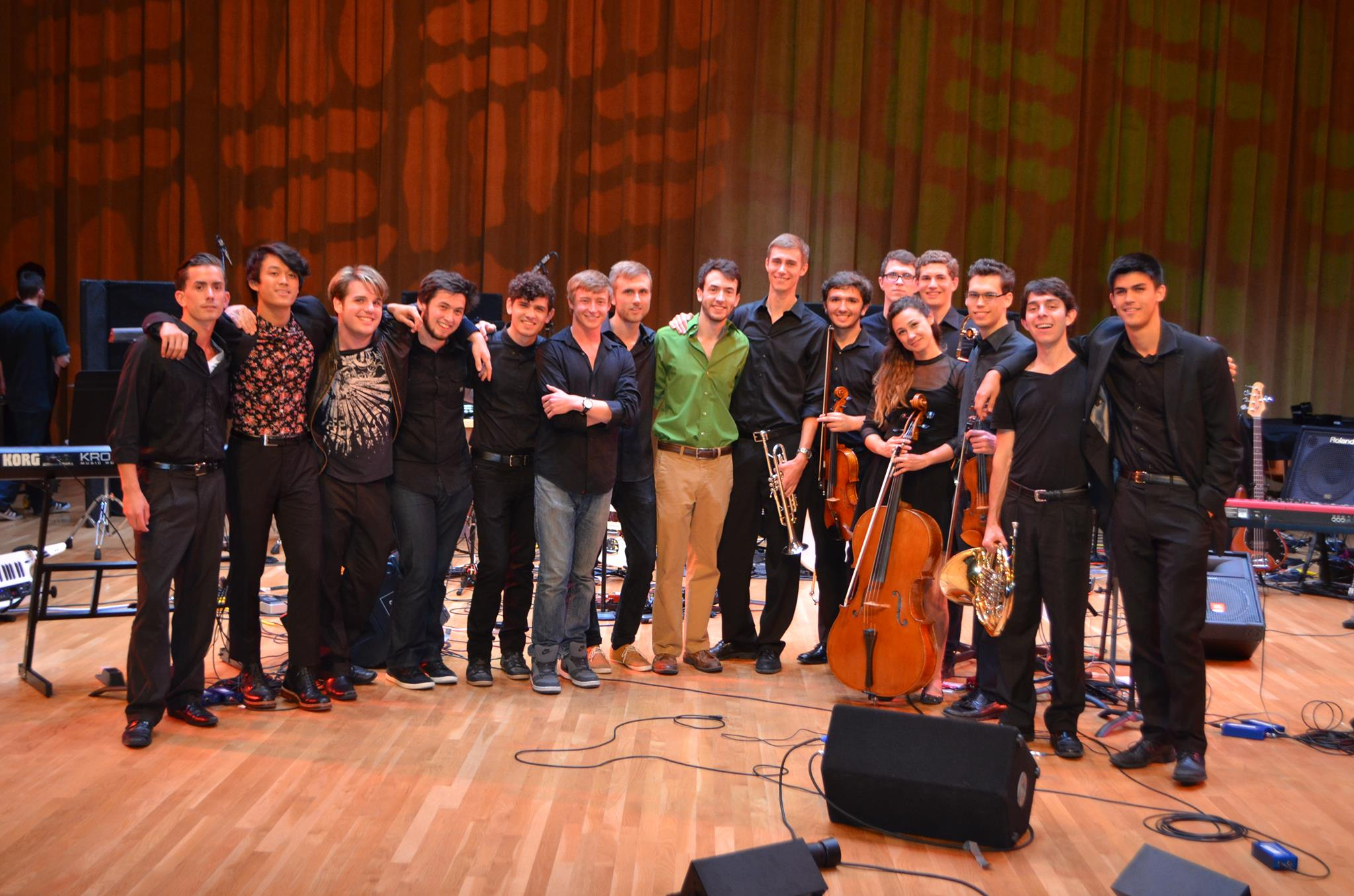 Standing onstage with (almost) everyone who performed with me in my senior recital at the University of Miami.