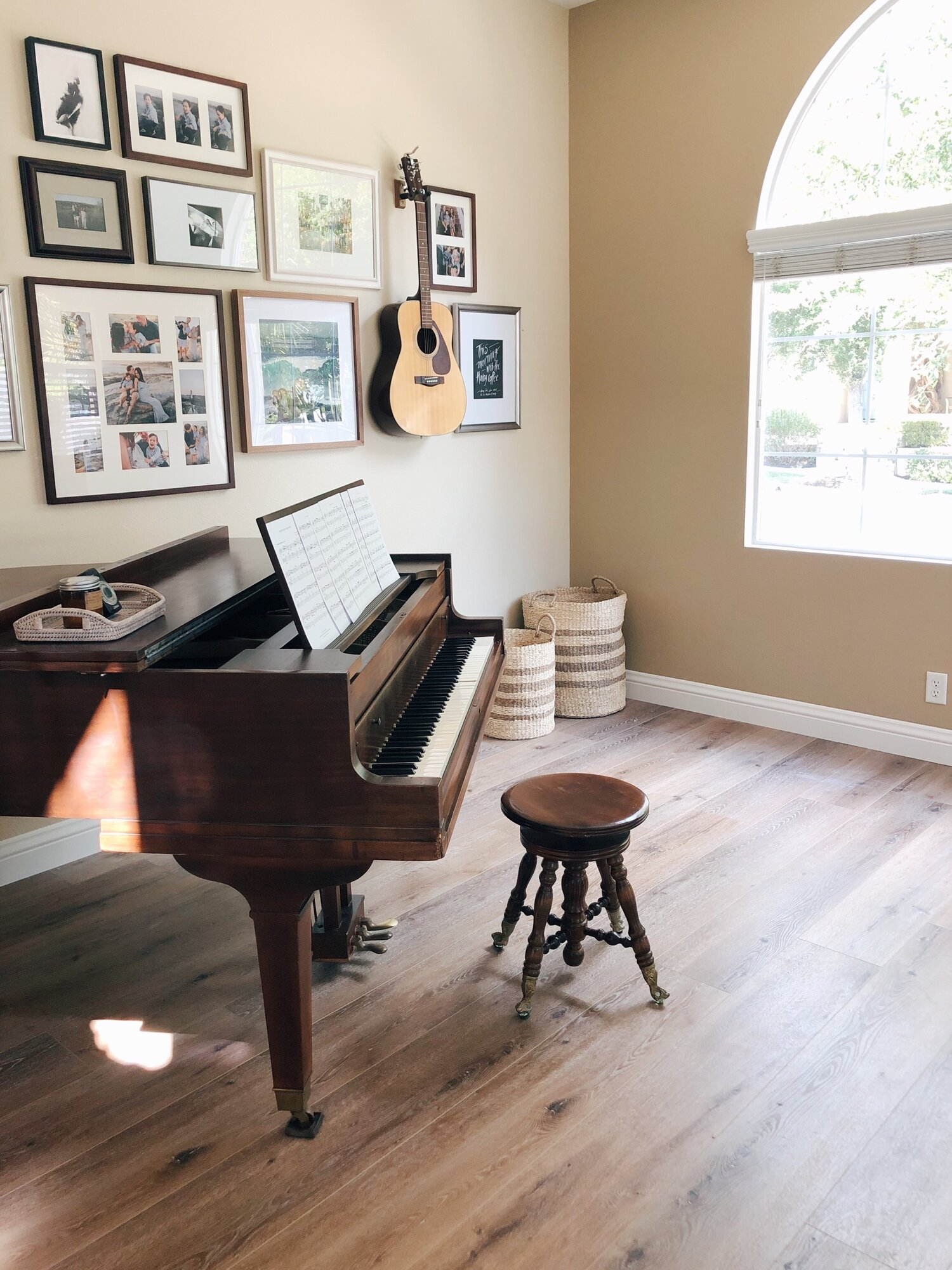 I love this piano room so much – high ceilings, lots of light. We can't wait to put our Christmas tree in front of that window.