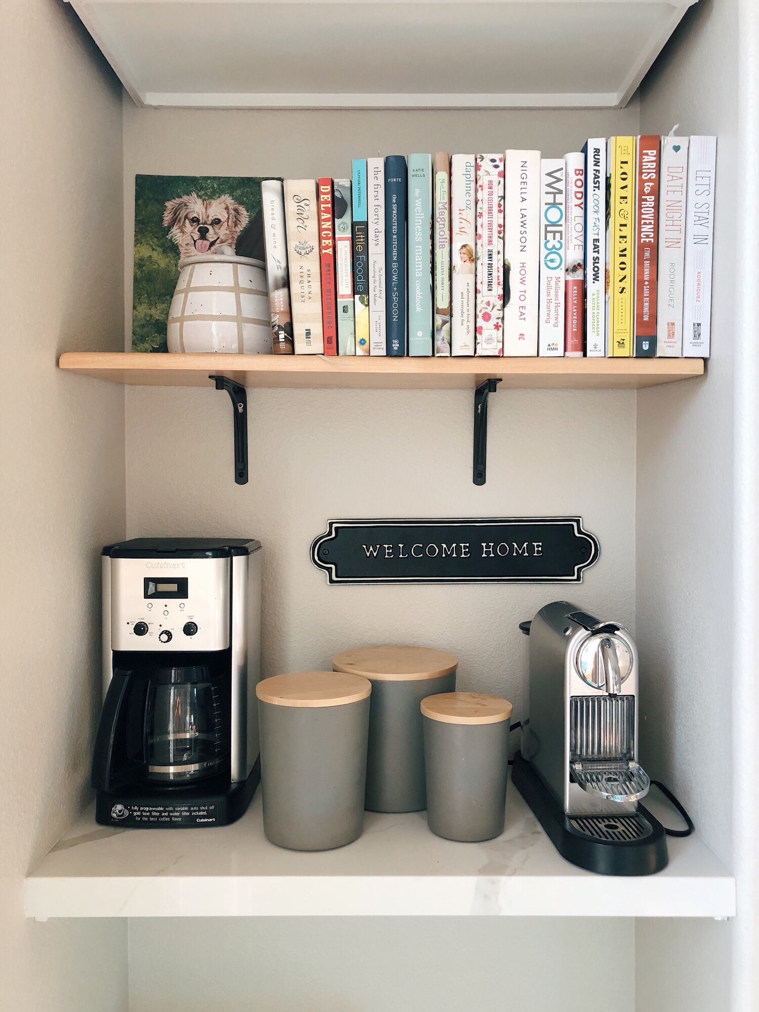 Our little coffee station that brings me so much happiness. Even my cookbooks have a home now!