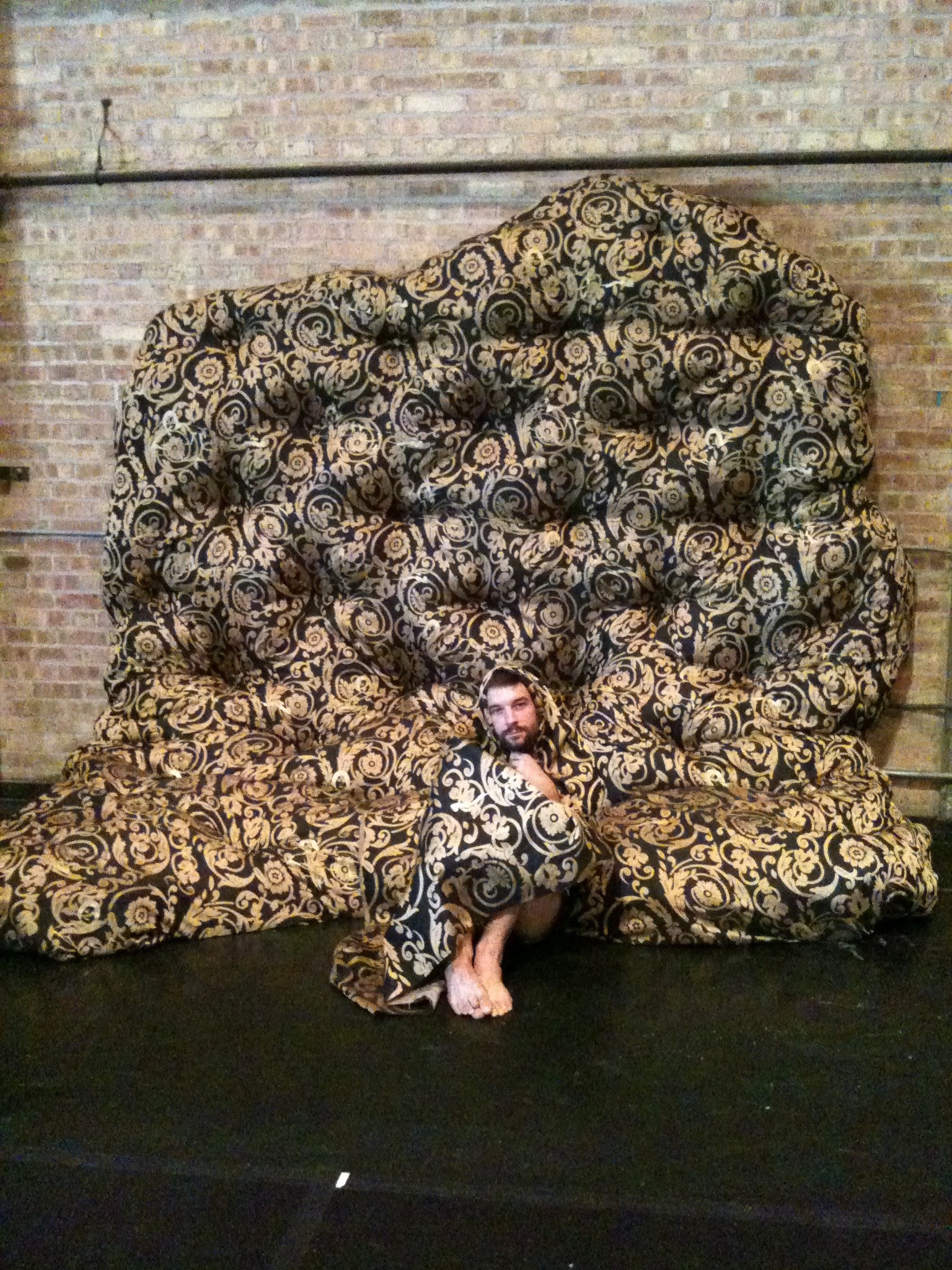 Upholstered wall made in collaboration with Max Wirsing (pictured) for Morgan Thorson's  Spaceholder Festival