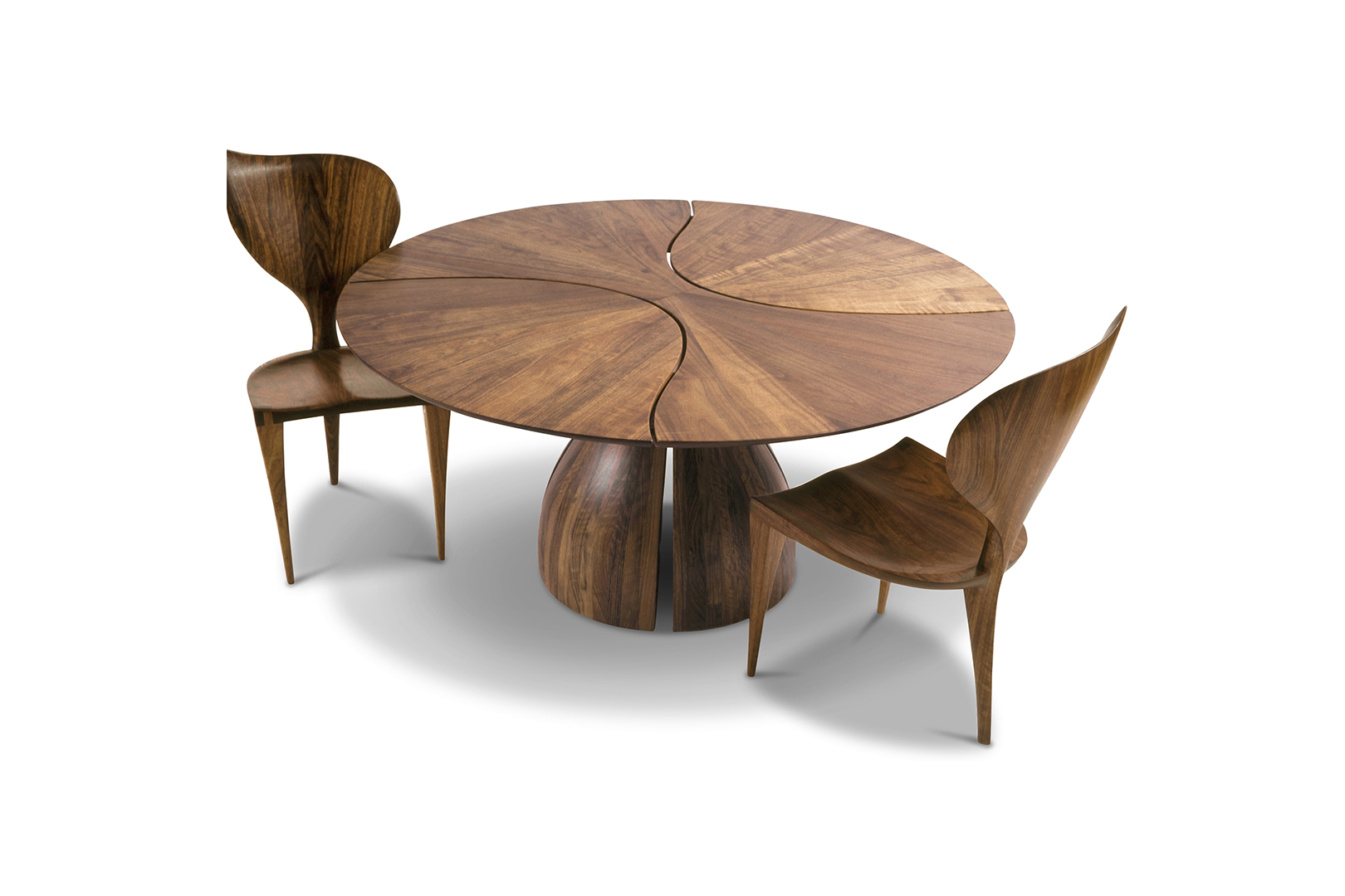 """Lily Pad"" Dining Table and Chairs, designed 1980  African Mozambique.  Table: 29 in. high x 60 in. diameter"