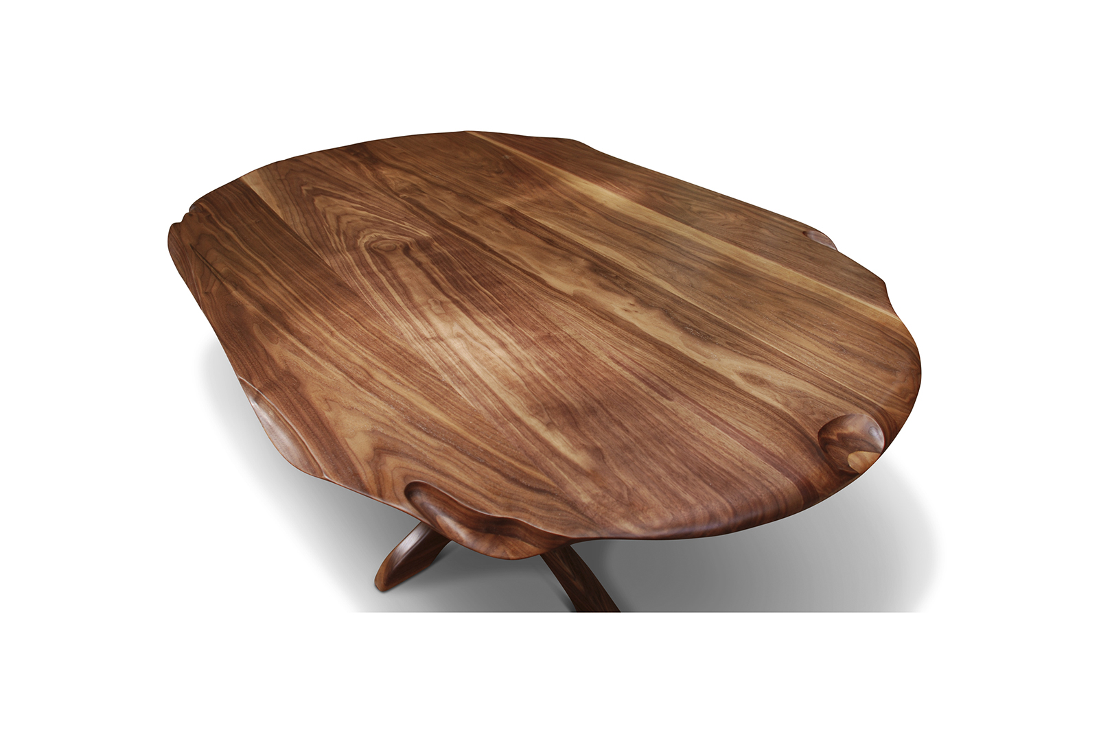 """Tutu"" Breakfast Table, designed 2011  American black walnut.  29 x 55 x 38 in."