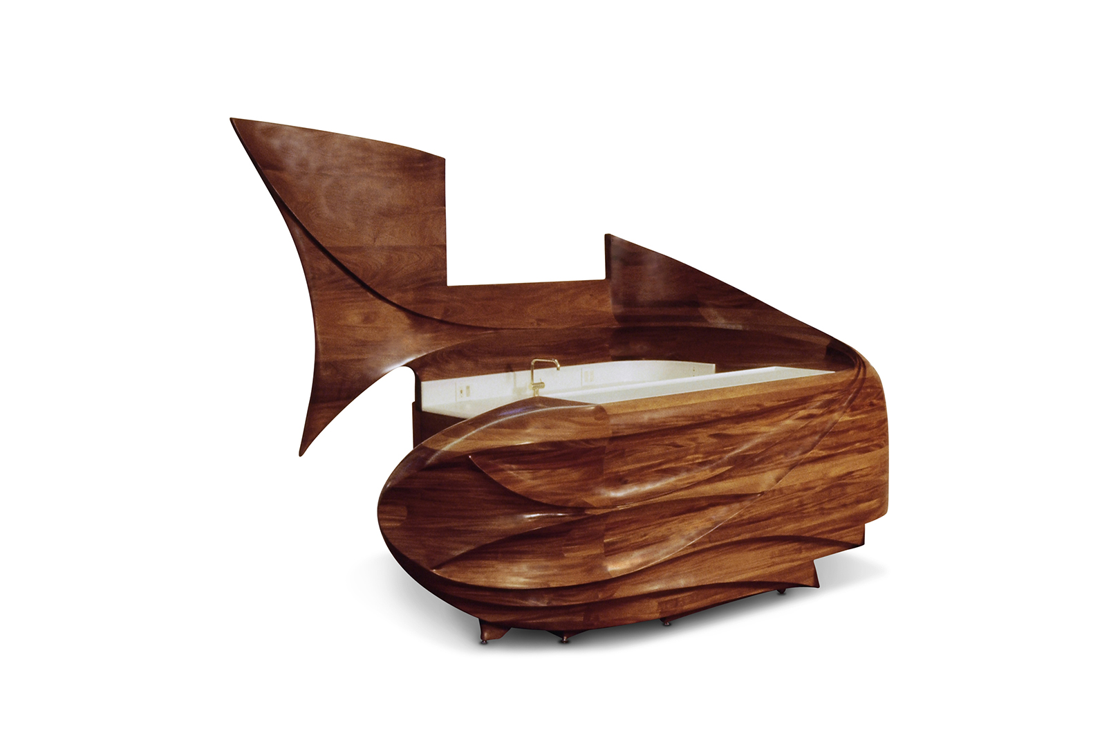 """Whale of a Bar"", designed in 1994  Solid and veneered mahogany, Corian, electrical components.  98 x 128 x 78 in."