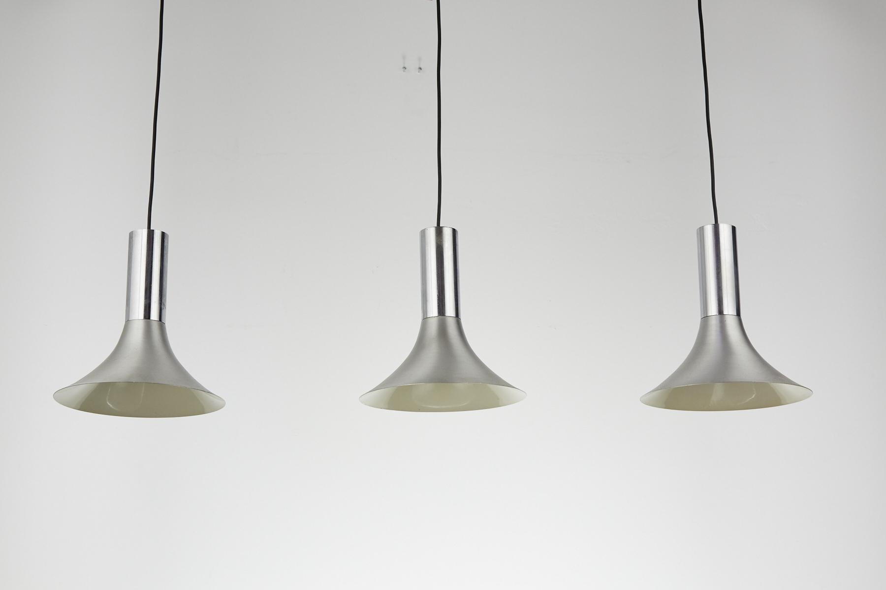 Set Of Three Chrome Danish Mid Century Modern Pendant Lights 1960s