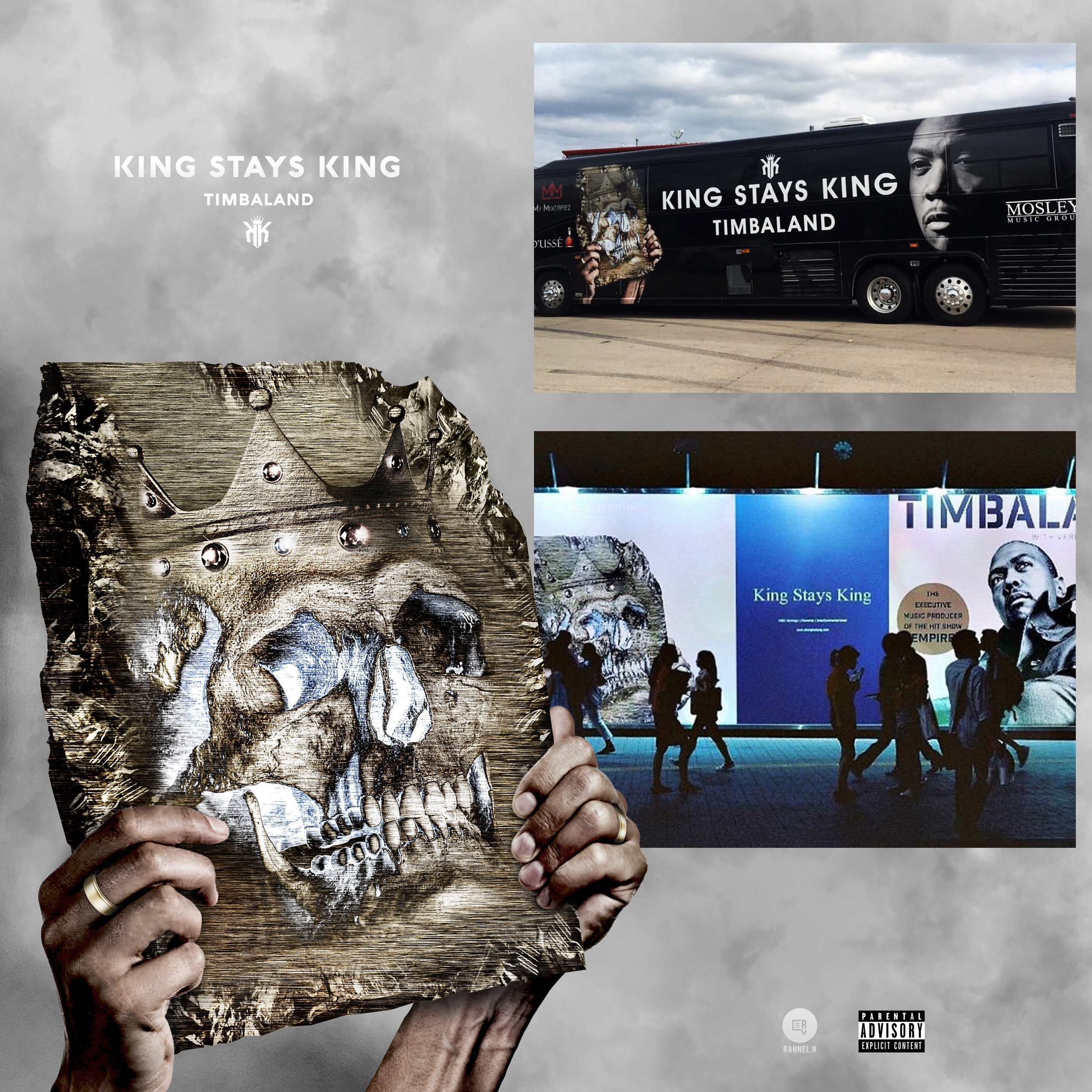 Timbaland album cover, billboard, & tour bus designed by Rannel Ngumuya for the King Stays King Tour. ( October 30th, 2016 )
