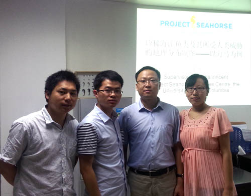 Xiong Zhang (middle left) and Dr Qiang Lin (middle right) and other two researchers in his team, taken after Xiong's presentation in Lin's office, June 18, 2014.