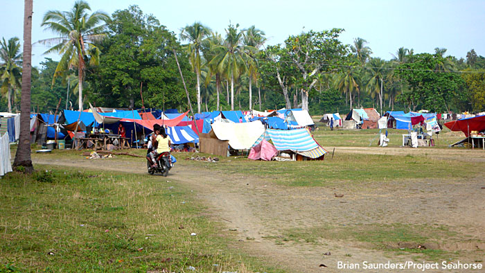 Over 2,000 homes in the Danajon Bank region of the Philippines have been damaged or destroyed by last month's earthquake and last week's typhoon. Pictured here is a makeshift encampment where displaced families are sheltering.  Photo: Brian Saunders/Project Seahorse