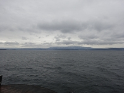 The view of Vancouver Island from the ferry.
