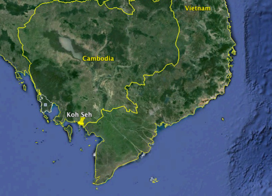 Location of the Island of Koh Seh.  Google Earth, 2015.