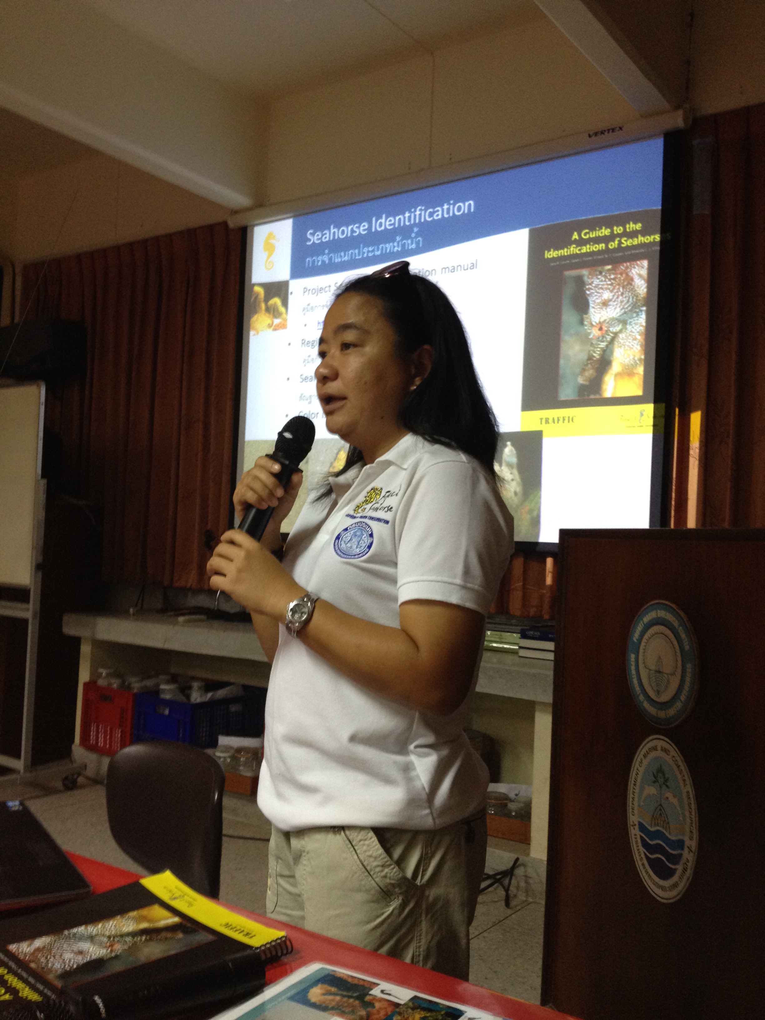 Our assistant Topsi quickly became an invaluable asset to our research team. During our second year she took on a leadership role and began to teach our training workshops in Thai. Here she is presenting to coral and seagrass biologists at the Department of Marine and Coastal Resources.