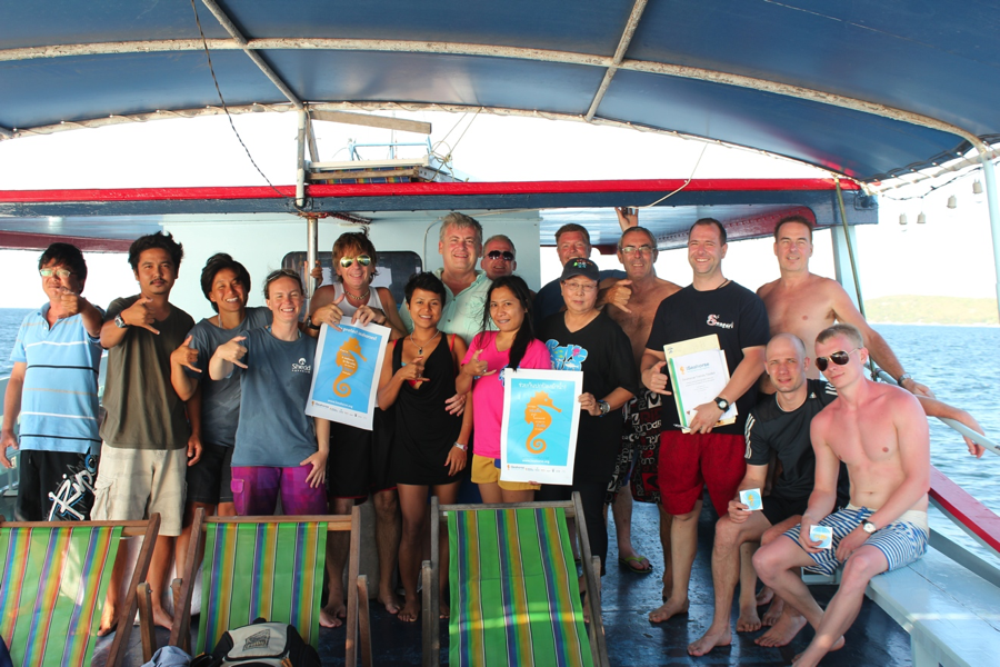 We launched the PADI Seahorse Specialty course in Thailand, and here are divers who participated in some of the launch events around Pattaya. We learned how to make the sign of the seahorse underwater from our Filipina colleague and most divers are making the gesture in the photo. Turns out we used this hand signal quite a lot during the training, since there are many juvenile  Hippocampus spinosissimus , or hedgehog seahorses, living around the islands off Pattaya.