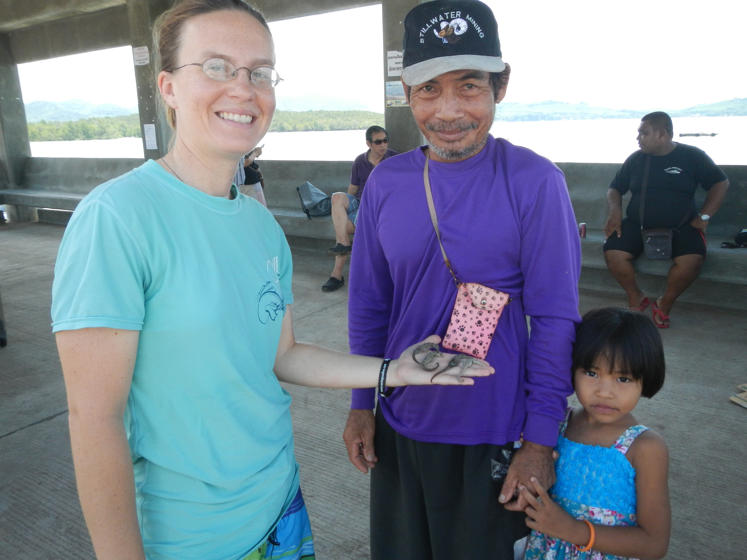 This fisher and his daughter sought us out after an interview to show us the seahorses they captured in the fishing net the next day. He proudly had four  Hippocampus trimaculatus  to show us from the sandy bottom near Koh Yao Noi where he sets his crab gillnet.